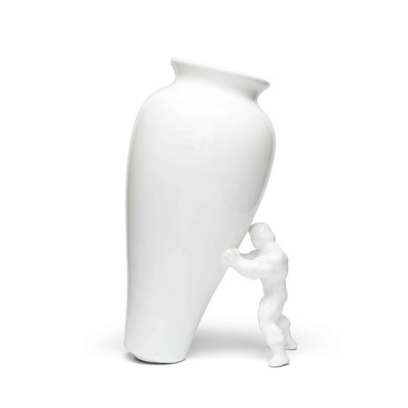 Jasmin Djerzic Vase My Superhero en céramique blanche 27,5x15x11,5cm