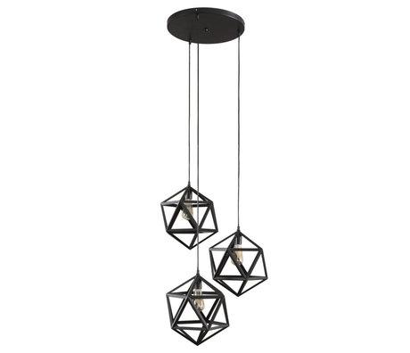 wonenmetlef Lampe suspension Daaf 3 lumières en métal noir Ø65x150cm