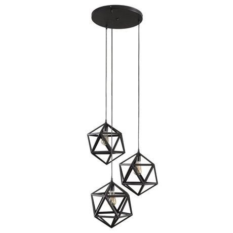 wonenmetlef Daaf hanging lamp 3-light black metal Ø65x150cm