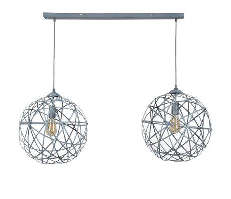 wonenmetlef Hanglamp Enzo 2-lichts concrete grijs staal 110x40x150cm