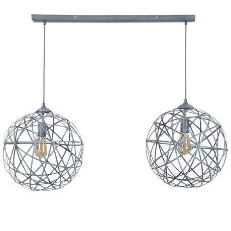 wonenmetlef Enzo hanging lamp 2-light concrete gray steel 110x40x150cm