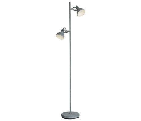 wonenmetlef Lampadaire Kobe 2 lumières béton gris acier 33x23x143cm