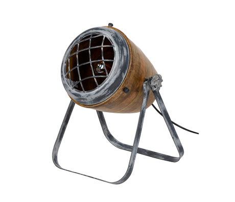wonenmetlef Tafellamp Rover bruin grijs hout metaal Ø33x42cm