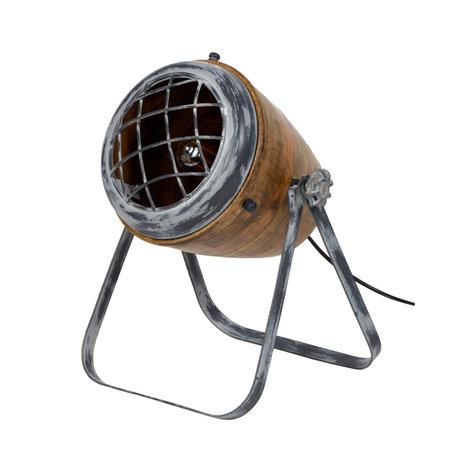 wonenmetlef Tischleuchte Rover braun grau Holz Metall Ø33x42cm