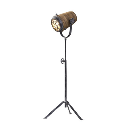 wonenmetlef Floor lamp Rover brown gray wood metal L Ø36x96cm
