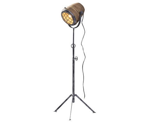 wonenmetlef Lampadaire Rover brun bois gris métal XL Ø58x184cm
