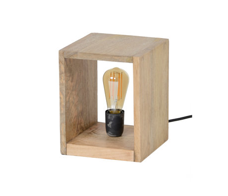 wonenmetlef Lampe de table Izzy bois brun naturel 20x20x25cm