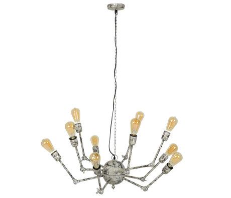 wonenmetlef Hanglamp Mex 10-lichts wit grijs koper Ø54x150cm
