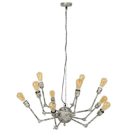 wonenmetlef Mex hanging lamp 10-light white gray copper Ø54x150cm