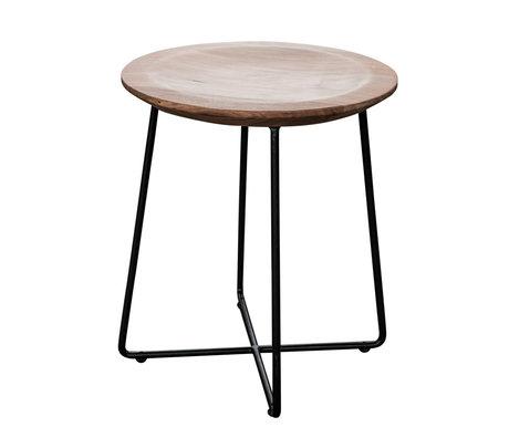 wonenmetlef Table d'appoint Fos naturel brun bois noir acier Ø40x45cm