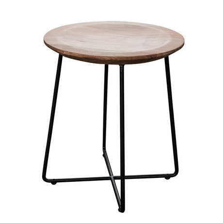 wonenmetlef Side table Fos natural brown black wood steel Ø40x45cm