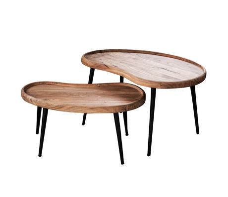 wonenmetlef Table basse Flynn en acier, bois brun naturel, lot de 2