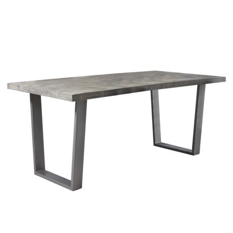 wonenmetlef Table à manger Jace loam brun noir bois acier 180x90x76cm