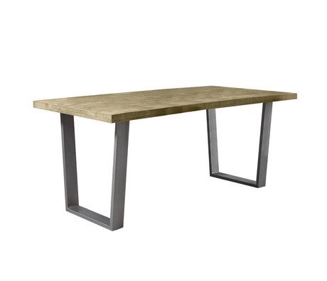 wonenmetlef Eettafel Jace naturel bruin zwart hout staal 180x90x76cm