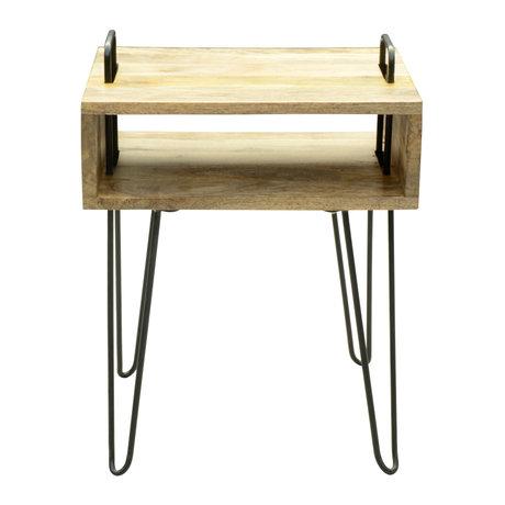 wonenmetlef Side table Elin natural brown black wood steel 40x34x52cm