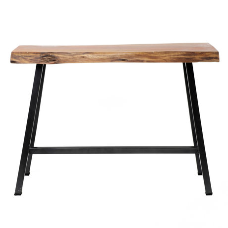 wonenmetlef Table de bar Mae brun noir bois acier 125x46x92cm