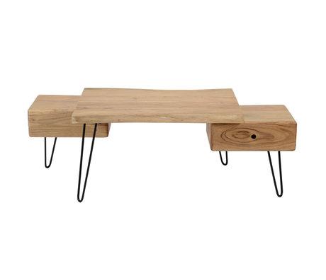 wonenmetlef Table basse Sam en bois brun métal 130x60x45cm