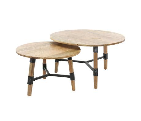 wonenmetlef Table basse Puck brun bois noir acier set de 2