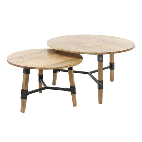 wonenmetlef Coffee table Puck brown black wood steel set of 2