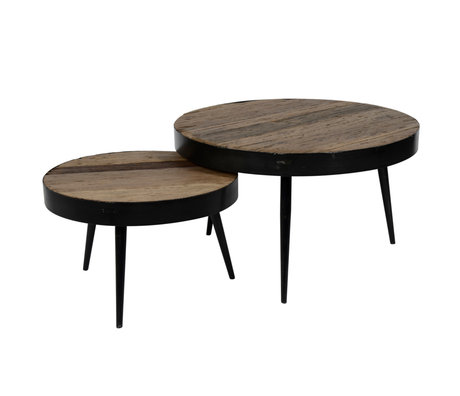 wonenmetlef Table basse Jane robuste en bois brun en acier lot de 2