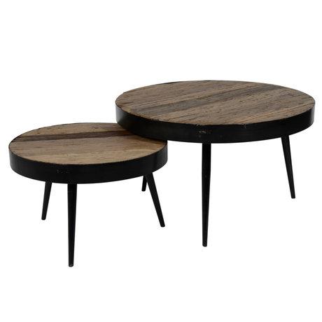 wonenmetlef Coffee table Jane robust brown wood steel set of 2