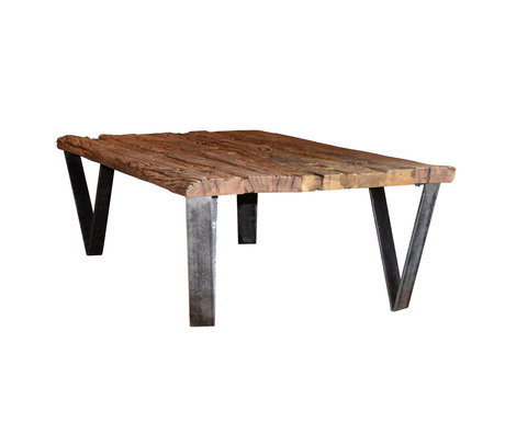 wonenmetlef Table basse Ziggy robuste bois brun 135x75x40cm