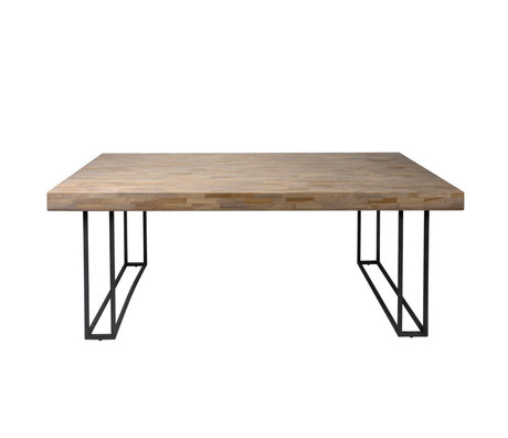 wonenmetlef Eetkamertafel Indy naturel bruin grijs hout metaal 200x100x78cm