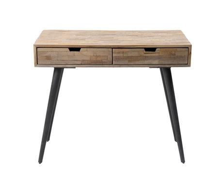 wonenmetlef Sidetable Jake bruin vintage grijs hout staal 90x50x76cm