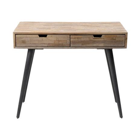 wonenmetlef Beistelltisch Jake brauner Vintage Holz Holzstahl 90x50x76cm