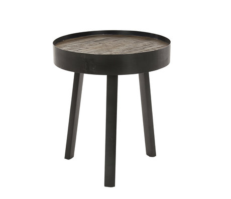 wonenmetlef Side table Vic antique gray wood metal Ø45x52cm