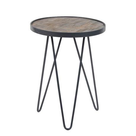 wonenmetlef Bijzettafel Sil bruin antiek grijs hout metaal Ø38x50cm