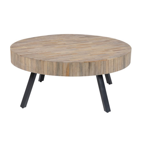 wonenmetlef Coffee table Seth round natural brown wood metal Ø90x40cm