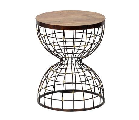 wonenmetlef Table d'appoint Nox bois naturel brun cuivre Ø36x46cm