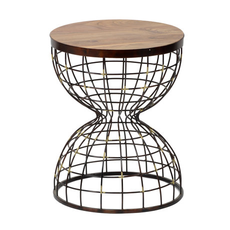 wonenmetlef Side table Nox natural brown copper wood Ø36x46cm