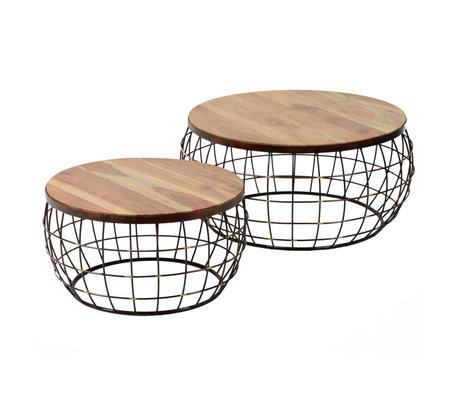 wonenmetlef Salontafel Nox naturel bruin koper hout set van 2