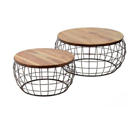 wonenmetlef Table basse Nox en bois de cuivre brun naturel, ensemble de 2