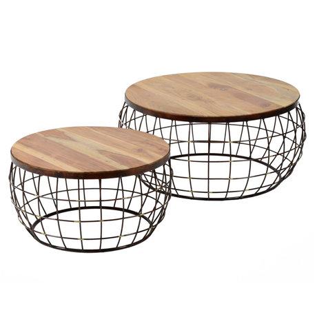 wonenmetlef Coffee table Nox natural brown copper wood set of 2