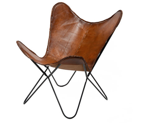 Wonenmetlef Vlinderstoel Flo cognac bruin leer metaal 76x72x85cm