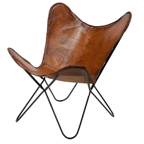 wonenmetlef Butterfly chair Flo cognac brown leather metal 76x72x85cm