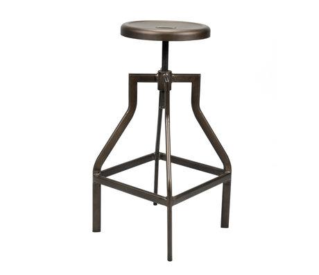 wonenmetlef Tabouret de bar Jax en acier peint époxy noir Ø35x61-79cm