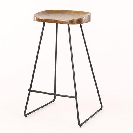 wonenmetlef Tabouret Dave naturel marron noir bois métal 37x29x71cm