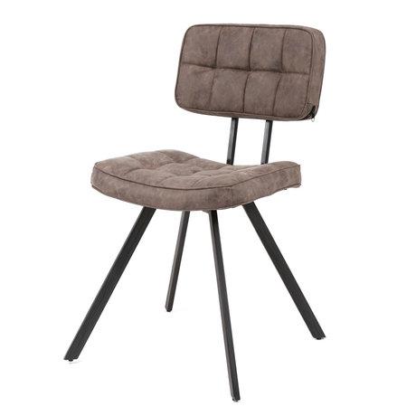 wonenmetlef Chaise de salle à manger Riley en cuir PU brun foncé 42x54x80cm