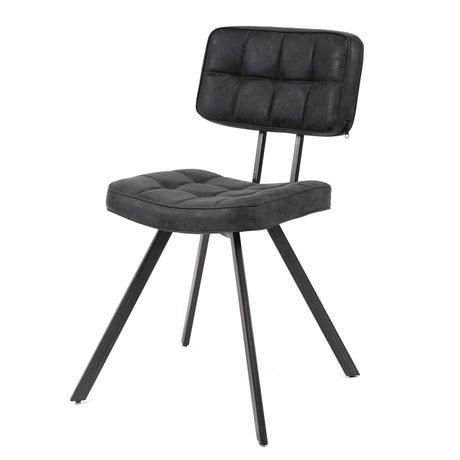wonenmetlef Chaise de salle à manger Riley en cuir PU noir 42x54x80cm