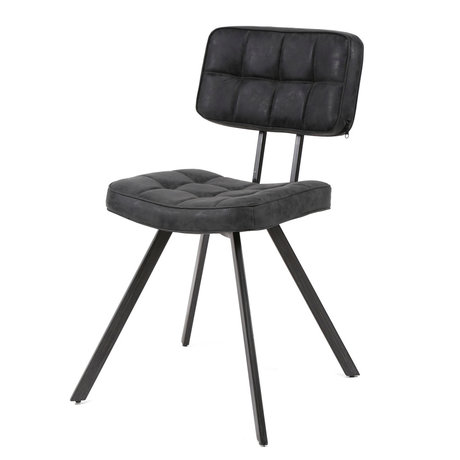 wonenmetlef Dining room chair Riley black PU leather 42x54x80cm