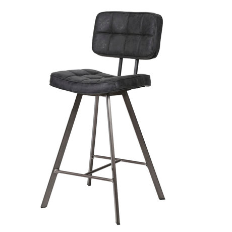 wonenmetlef Bar stool Riley black PU leather 43x55x80cm