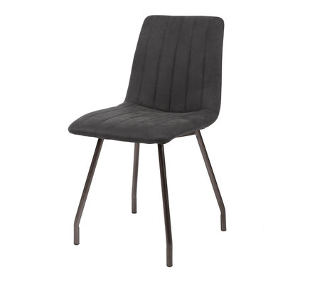 wonenmetlef Chaise de salle à manger Lot gris anthracite textile métal 45x56x87cm