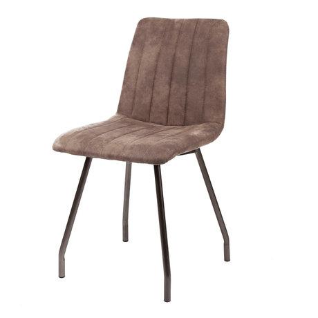 wonenmetlef Eetkamerstoel Lot taupe bruin textiel metaal 45x56x87cm