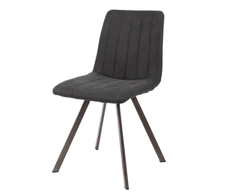 wonenmetlef Dining room chair Lois anthracite gray textile metal 45x56x87cm