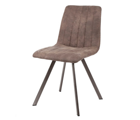 wonenmetlef Dining room chair Loïs taupe brown textile metal 45x56x87cm