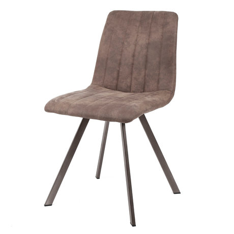 wonenmetlef Eetkamerstoel Loïs taupe bruin textiel metaal 45x56x87cm